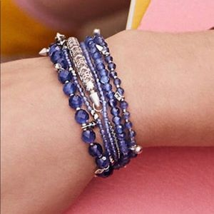 Kendra Scott set of 3 gold&blue stretch bracelets
